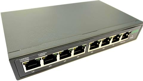 ADEX AX1000-8GPDM reverzný PoE switch, 8x GLAN, 7x PoE-in, 1x PoE-out