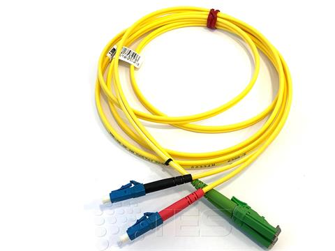 FIBRAIN Optický patchcord E2000/APC - LC/PC 2m, Gold, 2.8mm, duplex, SM, G657A1