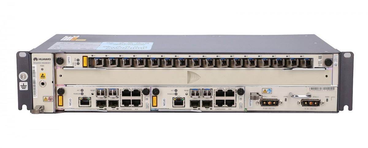 HUAWEI MA5608T GPON OLT, 1x GPFD (16x), 16x GPON SFP C+, 2x MPWC (DC/DC  power), 2x MCUD (4x 1GE)