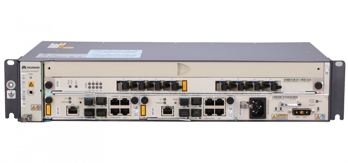 HUAWEI MA5608T GPON OLT, 1x GPFD (8x), 8x GPON SFP C+, 2x MPWC (DC/DC  power), 2x MCUD (4x 1GE)