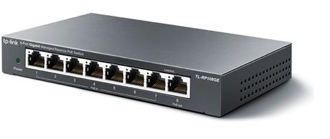 TP-LINK TL-RP108GE, reverzný PoE switch, 8x GLAN, (7x POE-in, 1x POE-out)